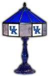 "Kentucky 21"" Table Lamp w/ Wildcats Logo - Stained Glass"