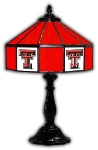 "Texas Tech 21"" Table Lamp w/ Red Raiders Logo - Stained Glass"