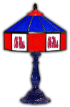 "Ole Miss 21"" Table Lamp w/ Rebels Logo - Stained Glass"