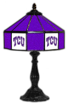 "Texas Christian 21"" Table Lamp w/ Horned Frogs Logo - Stained Glass"