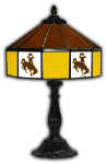 "Wyoming 21"" Table Lamp w/ Cowboys Logo - Stained Glass"