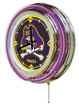 East Carolina Neon Clock w/ Pirates Logo - Double Ring