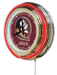 Florida State Neon Clock w/ Seminoles Logo - Double Ring