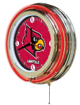 Louisville Neon Clock w/ Cardinals Logo - Double Ring