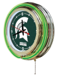 Michigan State Neon Clock w/ Spartans Logo - Double Ring