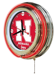 Nebraska Neon Clock w/ Cornhuskers Logo - Double Ring