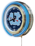 North Carolina Neon Clock w/ Tar Heels Logo - Double Ring