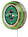 North Dakota Neon Clock w/ Fighting Hawks Logo - Double Ring