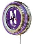 Northwestern Neon Clock w/ Wildcats Logo - Double Ring
