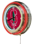 Stanford Neon Clock w/ Cardinals Logo - Double Ring
