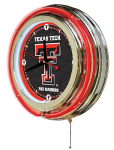 Texas Tech Neon Clock w/ Red Raiders Logo - Double Ring