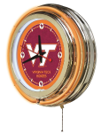 Virginia Tech Neon Clock w/ Hokies Logo - Double Ring