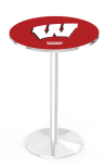 Wisconsin Badgers L214 Chrome Pub Table