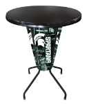 Michigan State Lighted Pub Table w/ Spartans Logo - Black Top