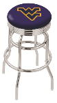 West Virginia Bar Stool w/ Mountaineers Logo Swivel Seat - L7C3C