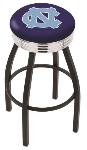 North Carolina Bar Stool w/ Tar Heels Logo Swivel Seat - L8B3C