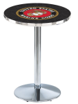 US Marine Corp L214 Chrome Pub Table