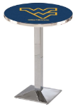West Virginia Mountaineers L217 Chrome Pub Table