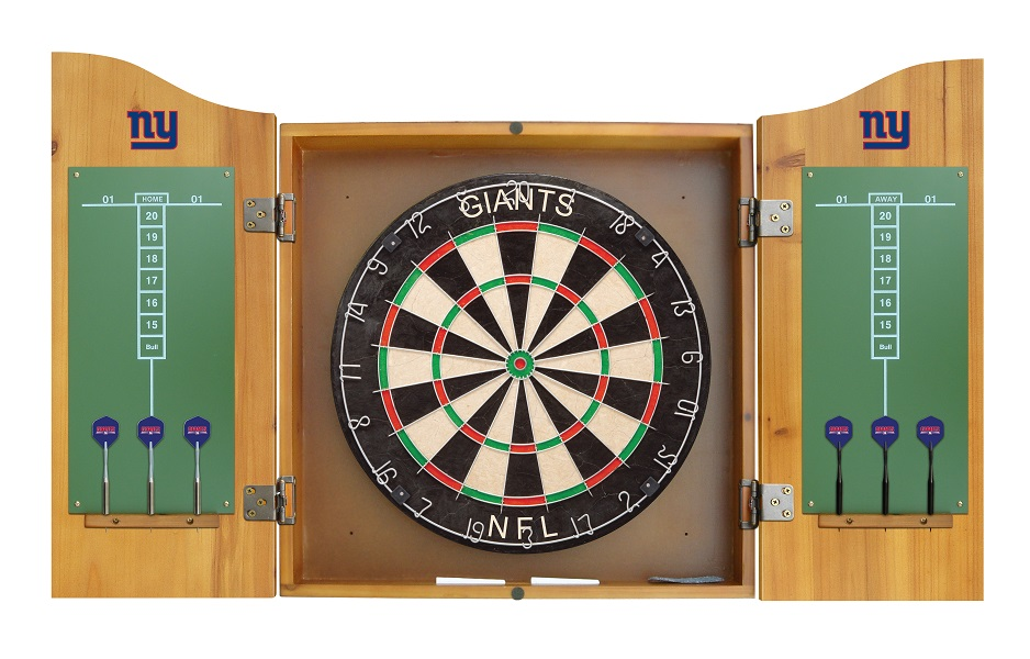 New York Dart Board W Giants Logo Solid Pine Cabinet