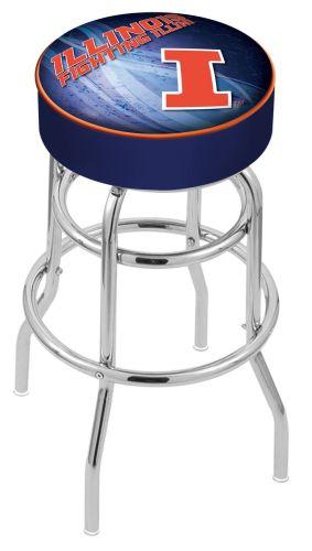 Illinois Bar Stool W Fighting Illini Logo Swivel Seat